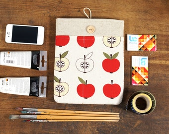 60% OFF SALE White Linen iPad Case with red apples print pocket and button closure. Padded Cover for iPad 1 2 3 4. iPad Sleeve Bag