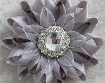Silver Flower Pin, Silver Dress Pin, Gray Flower Pin, Gray Corsage, Gray Bridesmaid Corsage, Pewter Gray Dress Pin, Silver Corsage Pin