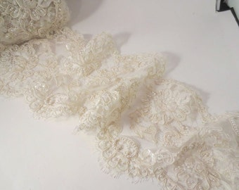 """Ivory Delicate Beaded French Alencon Lace Trim 7"""" Wide--One Yard"""