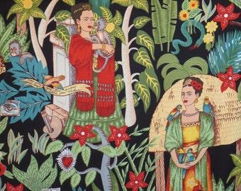 Frida's Garden Print on Black Pure Cotton Fabric--One Yard