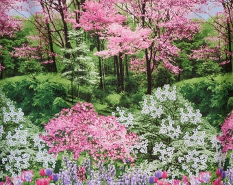 Pink and Green Stunning Landscape Border Print Pure Cotton Fabric--By the Yard