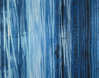Shades of Blue Striated Print Pure Cotton Fabric--One Yard