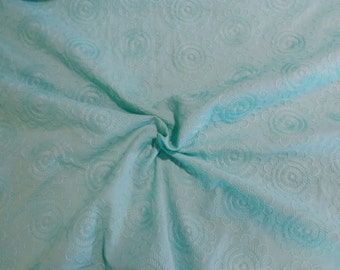 SPECIAL--Aqua Floral Design Embroidered Pure Cotton Fabric-One Yard