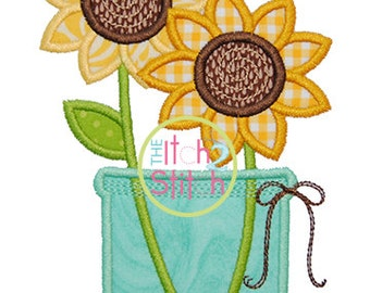 Sunflower Jar Applique For Machine Embroidery, Hoop Sizes 4x4, 5x7 & 6x10, INSTANT DOWNLOAD available