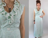 Vintage 1970s Seafoam Boho Peasant Dress / 70s Maxi Dress / 1970s Dress