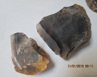 Two Rough Un-Polished Montana Moss Agate Cabbing Rough Chunks Clear Black and Brown