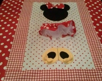 Minnie Mouse Red and White Polka Dot Twin Size Bedding Quilt