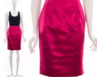 Vintage Electric Magenta Sateen RETRO PENCIL SKIRT Wiggle Skirt Madmen Medium Large Lilli Rubin