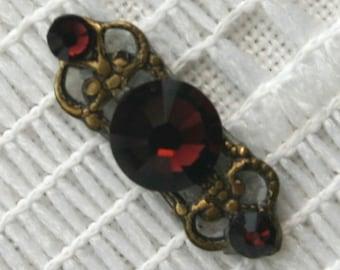 Burgandy Bindi in Oxidized Brass