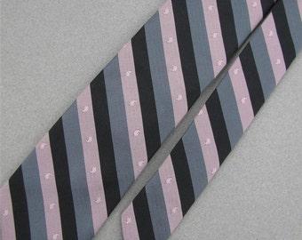 Vintage Necktie Elaan Black Gray Pink Stripe Slim 1960 60s 70s Mens Neck Tie V1-141 Evc