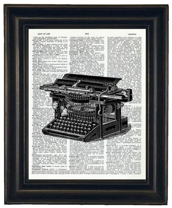 BOGO SALE Upcycled Dictionary Art Print Antique Typewriter on Vintage Dictionary Book Page
