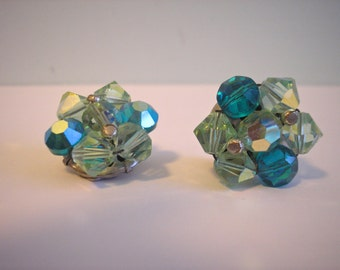 Vintage Crystal Teal and Mint Green Clip On Earrings, 1950s