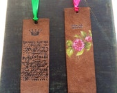 Leather Bookmarks Life Is Good Rose Crown Script Butterfly Unique Book Lover Teacher Gift School Days Librarian