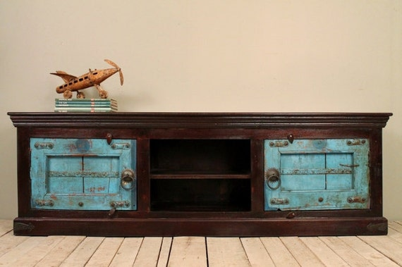 Reclaimed Salvaged Jodhpur Blue Antique Rustic Indian Door Tv