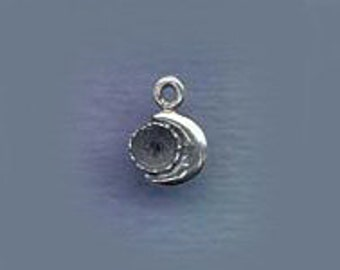 Celestial Jewelry Finding Tiny Moon Stone Setting (R)  CELE036STR