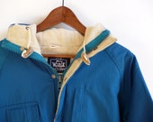 Vintage Woolrich Blue Wool Lined Jacket Womens L USA Made