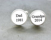 Personalized Grandparent Gift Dad Grandpa Custom Cufflinks Father's day gift New Baby Announcement Grandpa Gift First time Dad