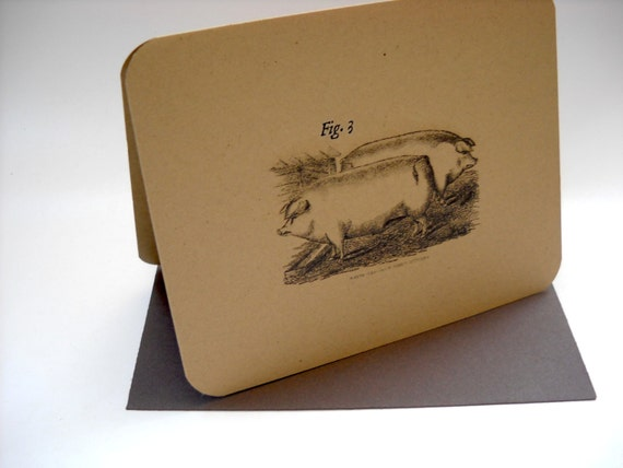 Victorian Dictionary Style Farm Animal Stationary Set on Kraft with Chocolate Brown Envelopes