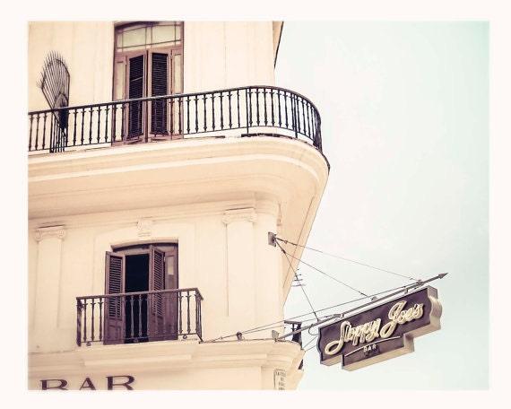Art, Print, Cuba Photography, Caribbean, Havana, Sloppy Joe's, Building, Sign, Cream, Mocha, Art Print
