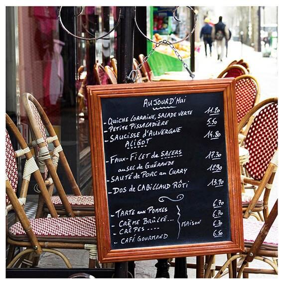 Paris Photography, Fine Art Print, Home Decor, Travel Photo, Menu, Bistro, Chairs, Red, Chalkboard, Kitchen Art, 12x12 Print