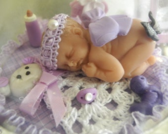 Baby's First Christmas Ornament- Baby in Lilac-Ornament-Cake Topper