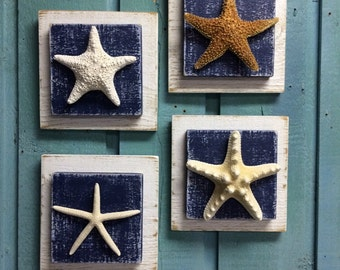 Starfish Plaque Sign Wall Art Beach House Decor - One Plaque of Your Choice by CastawaysHall