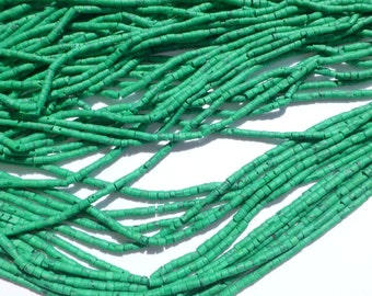 "MALACHITE beads. MaTTE Finish Heishi Beads. Reconstituted Malachite. SuPER SaTurated COlor. 14"" strand. 5 Strands. 2mm (H-Mal200)"