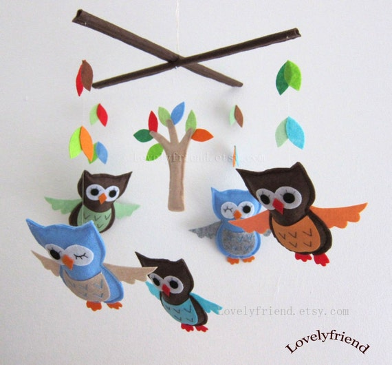 """Baby Mobile - """"Jungle Winking Friends"""" Nursery Mobile - Handmade Neutral Crib Mobile - Blue and brown owl mobile """" (Match your bedding)"""
