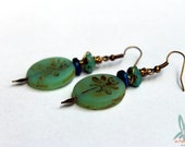 Green dragonfly - dangle earrings with Czech glass