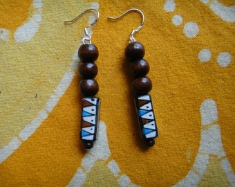 Tribal Triangle Peruvian Ceramic & Wood Beaded Earrings