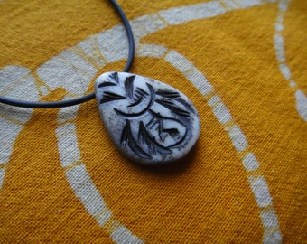 Tribal Carved Petal Pendant Necklace -  Mens Bone Bead Jewelry