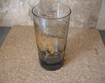Fantastic Vintage Aquarius Zodiac Glass