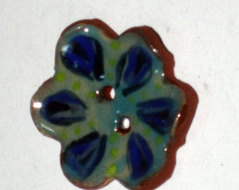 Handmade ceramic buttons -  pair of blue flower pottery buttons C26