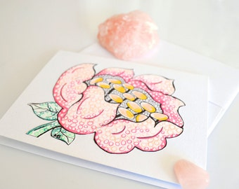 Hand Drawn Card - Flower Pen and Ink Color Pencil Drawing - Metallic Card - Light Pink Abstract Flower Art Card Note Card Greeting Card