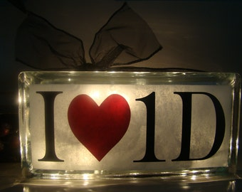 One Direction Glass Block Night Light - I love One Direction - Vinyl lettering