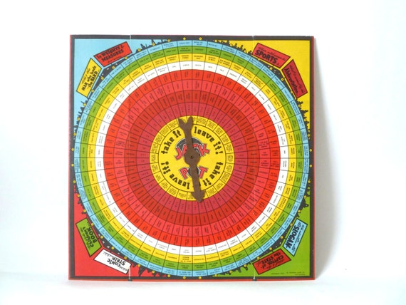 Vintage Target Game Board … 1940s Take It or Leave It, Arrow, Zondine Game Co., Retro Graphic Wall Decor, Rainbow Gameboard, Red
