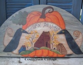 Primitive Fall Autumn Blessings Door Crown