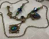 Peacock Blue Green Opal Crystal Key Steampunk Choker Necklace Antiqued Bronze Filigree Titanic Temptations Vintage Victorian Bridal Jewelry