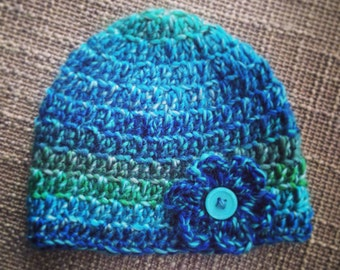 Multi Colored Blue/Green Crochet Beanie with Flower
