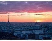 Paris Sunset - Eiffel Tower with Paris Rooftops - Paris photography 8 x 12 Original Fine Art Photograph