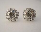 Wedding Crystal Stud Earrings, Bridal Earrings, 15mm Rhinestone Stud Earrings, Wedding Bridesmaids, Bridal Party, Vintage Stud Earrings