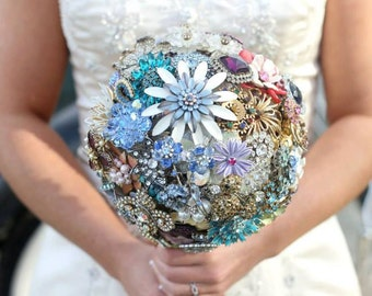 Brooch Bouquet - Custom Jewelry Heirloom Bouquet - Large - Rhinestones, Crystals, Enamel Flowers - Handmade in the USA