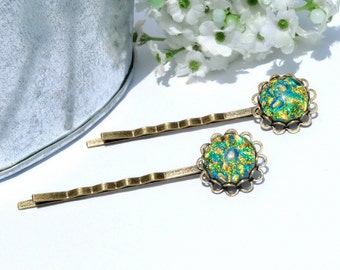 Dichroic Bobby Pins (one pair), Fused Glass Hair Jewelry - Antique Bronze, Victorian Filigree Flower - Emerald Green, Gold (Item 50125-B)