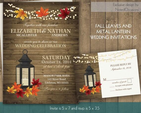 Rustic Fall Wedding Invitation Set With Lantern By