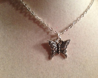 Butterfly Necklace - Silver Jewelry - Pendant Jewellery - Chain - Fashion - Kitsch - Hipster