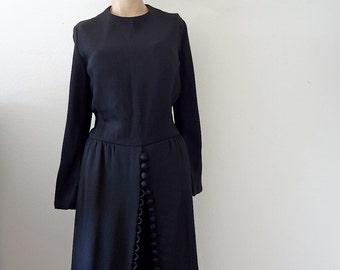 1960s Cocktail Dress - black rayon crepe shirtwaist party dress - designer vintage fashion