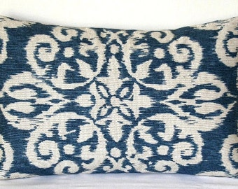 Blue and Beige Ikat Lacefield Indigo Decorative Pillow Accent Pillow Throw Pillow Cushion Cover
