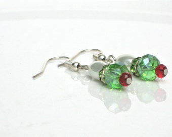 """Christmas Style Earrings, Preppy Style, Traditional Style, Red Green And White, Pearls And Crystals, """"So Ready For Santa"""""""