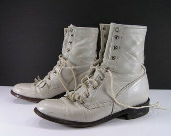 ankle cowboy boots womens 6 B M bone antique white paddock western booties cowgirl granny leather vintage