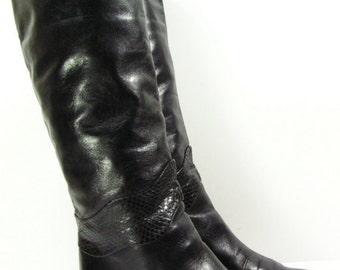 knee high boots womens 7 B black leather snake fashion slouch pirate